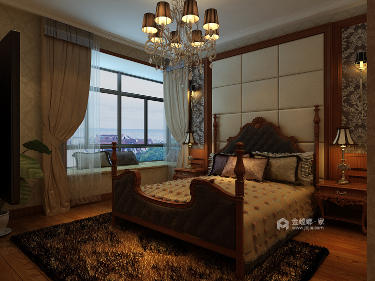 轻奢风的新中式有没有见过?真是太漂亮了!-卧室效果图及设计说明