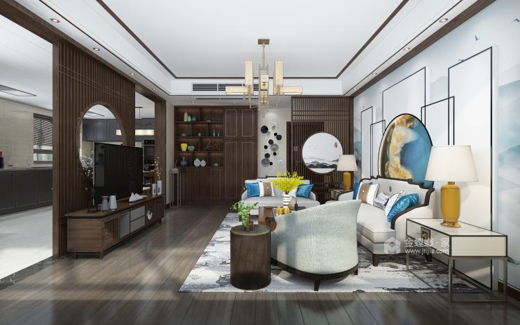 新中式配开放式厨房,这样的装修你见过?-客厅效果图及设计说明