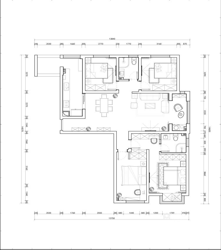 118㎡轻奢新中式,客厅古香古色有韵味-平面设计图及设计说明