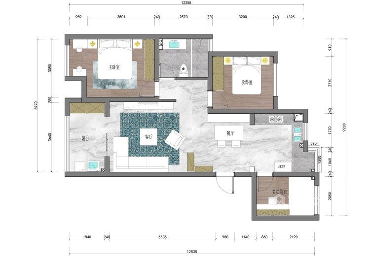 100㎡暖色系空间搭配,温馨十足-平面设计图及设计说明