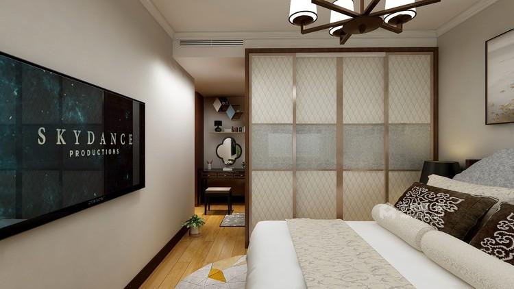 118㎡轻奢新中式,客厅古香古色有韵味-卧室效果图及设计说明