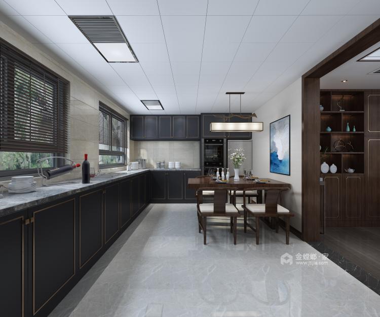 新中式配开放式厨房,这样的装修你见过?-餐厅效果图及设计说明
