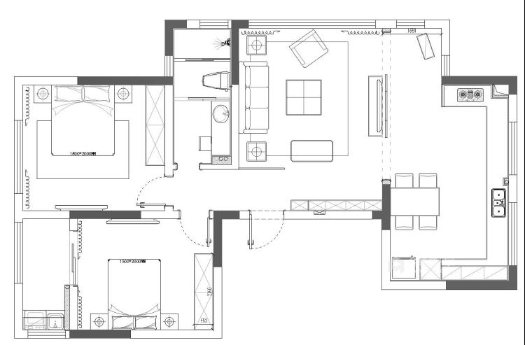 新中式配开放式厨房,这样的装修你见过?-平面设计图及设计说明