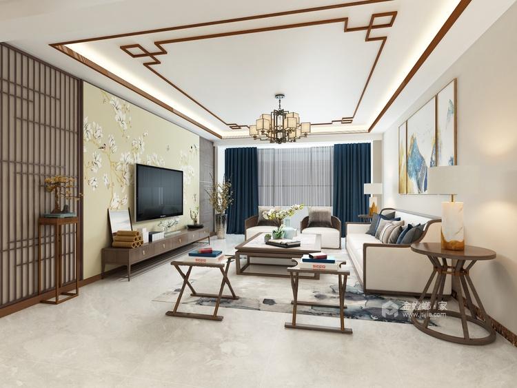 柔和色调,禅韵悠悠,138㎡新中式-客厅效果图及设计说明