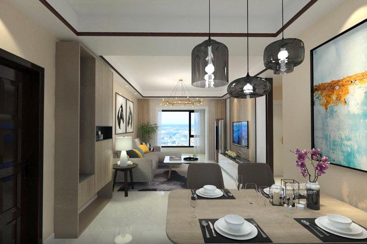100㎡暖色系空间搭配,温馨十足-餐厅效果图及设计说明
