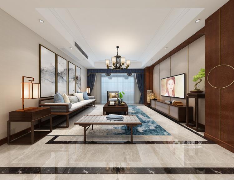 轻奢风的新中式有没有见过?真是太漂亮了!-客厅效果图及设计说明