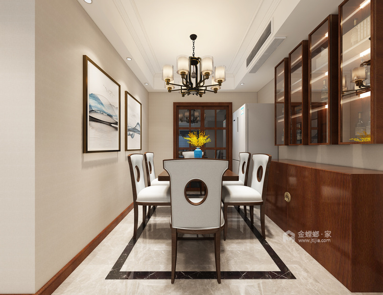 轻奢风的新中式有没有见过?真是太漂亮了!-餐厅效果图及设计说明