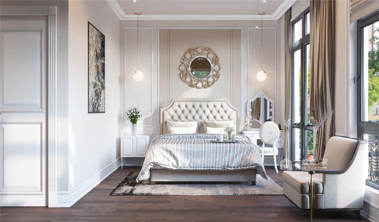 白+孔雀蓝,125㎡美式展现异国风情-卧室效果图及设计说明