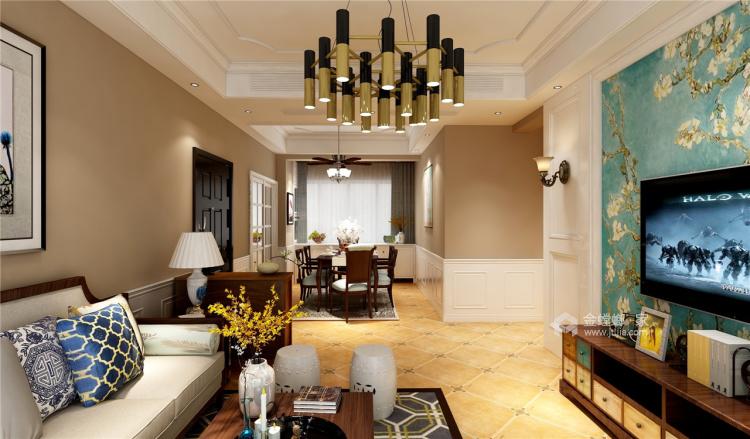 白+孔雀蓝,125㎡美式展现异国风情-餐厅效果图及设计说明