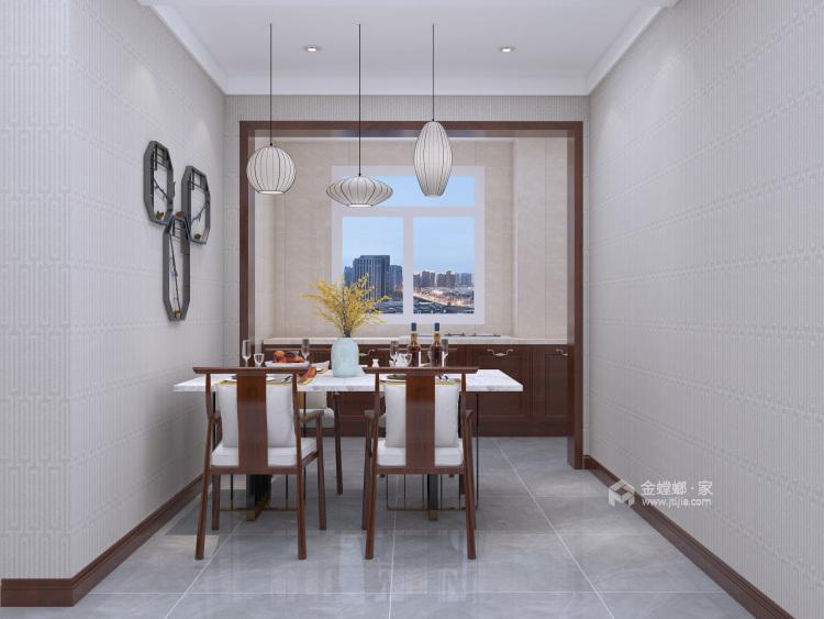 新中式挑高客厅,有格调又不显压抑!-餐厅效果图及设计说明