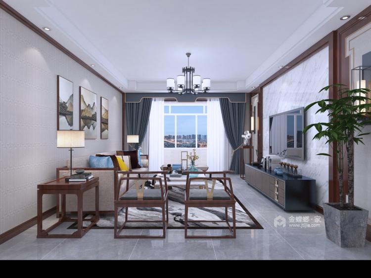 新中式挑高客厅,有格调又不显压抑!-客厅效果图及设计说明
