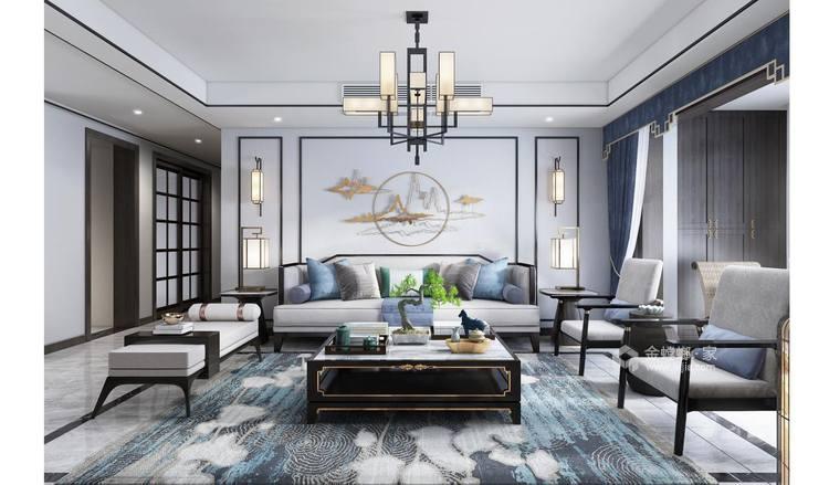 书香门第,去除中式那一抹的厚重感-客厅效果图及设计说明