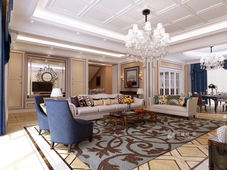 460㎡简约美式风四居,精致有设计感-客厅效果图及设计说明