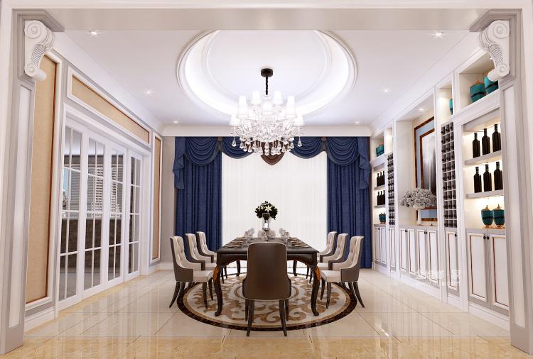 460㎡简约美式风四居,精致有设计感-餐厅效果图及设计说明