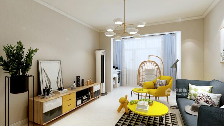 活泼色彩,贴近自然的105㎡北欧风-客厅效果图及设计说明