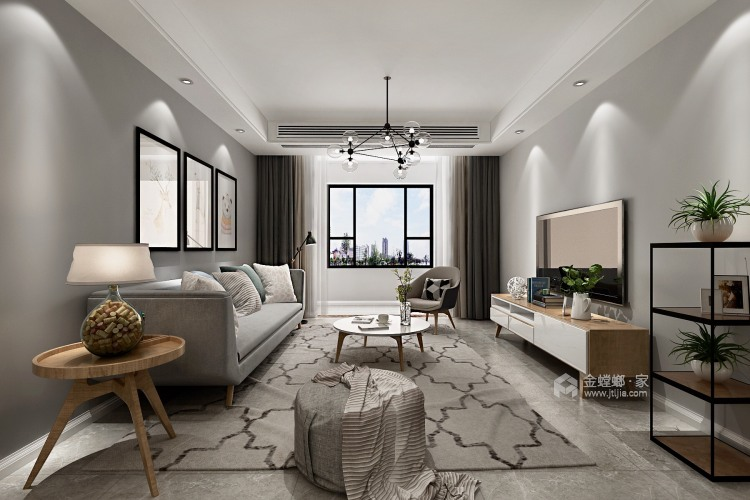 107㎡北欧风,空间明亮又漂亮-客厅效果图及设计说明