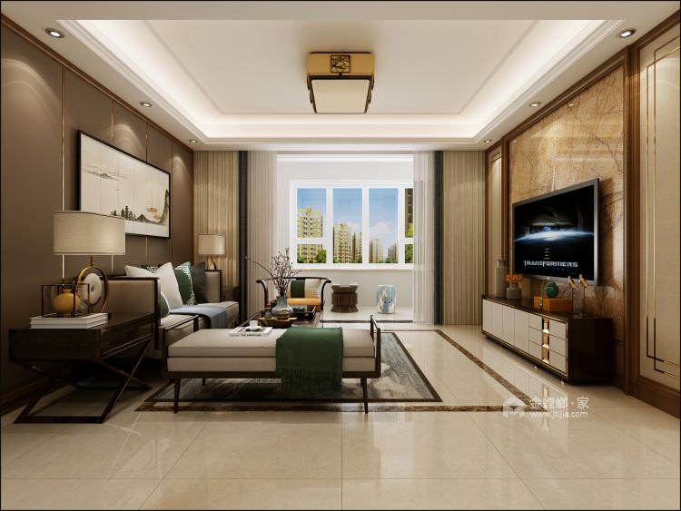 140㎡新中式格调高雅,简朴优美-客厅效果图及设计说明
