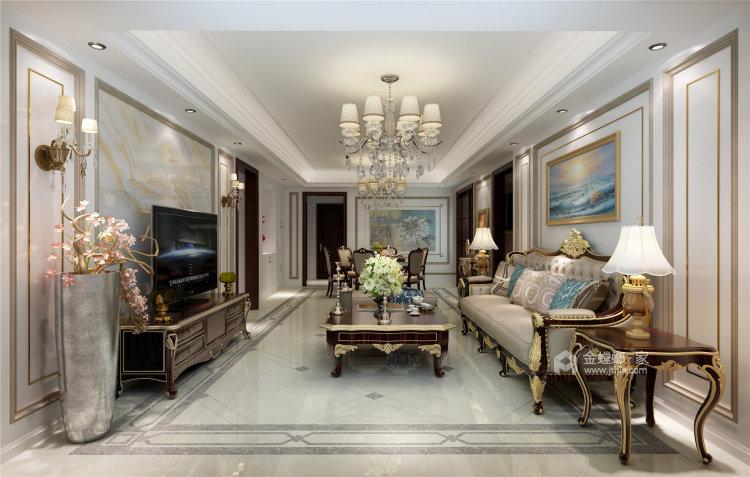 象牙白的欧式,让家充满高级感-客厅效果图及设计说明