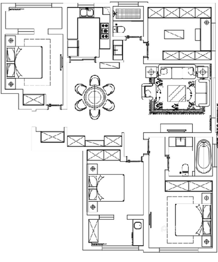 象牙白的欧式,让家充满高级感-平面设计图及设计说明