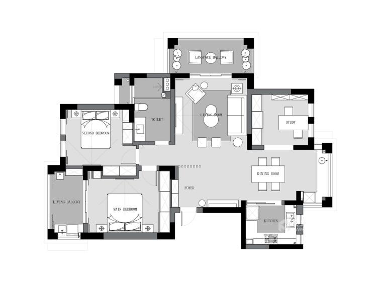 极简通透,生活定义空间-平面设计图及设计说明