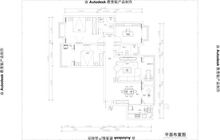 灰蓝色调,打造简约不单调的家-平面设计图及设计说明