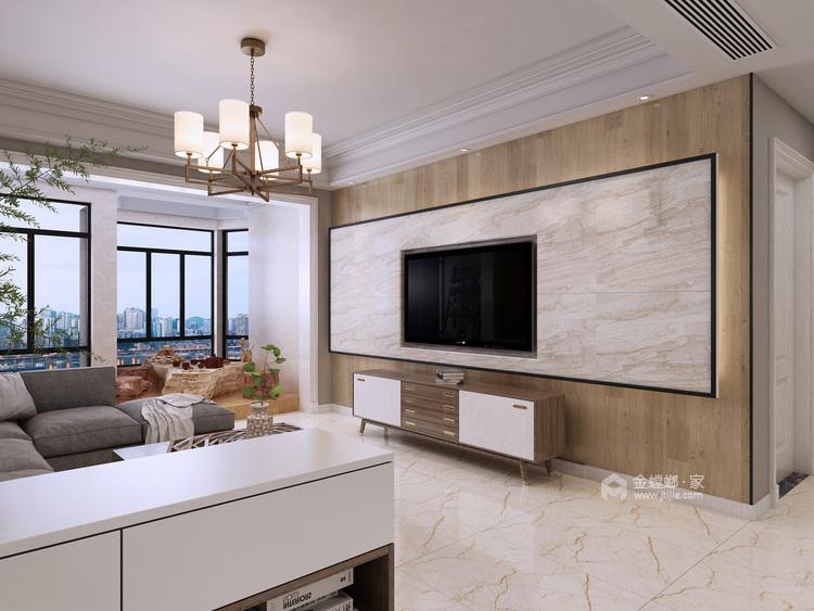 美式轻奢里的清新悠然-客厅效果图及设计说明
