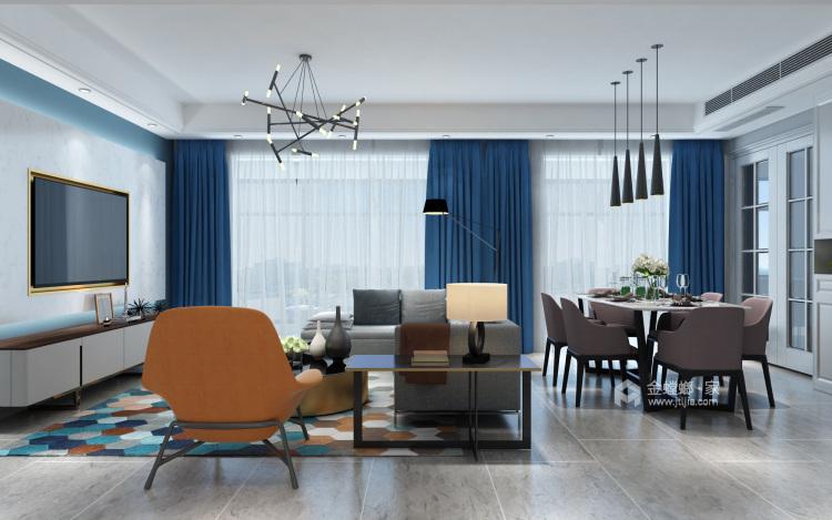灰蓝色调,打造简约不单调的家-客厅效果图及设计说明