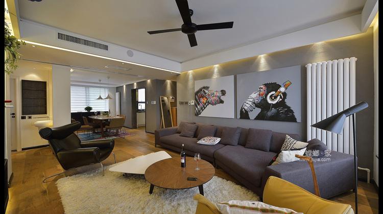 减法人生,灰色线条勾勒极简生活-客厅效果图及设计说明