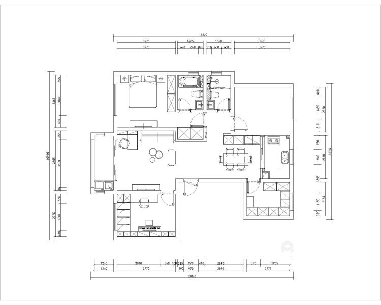黑白灰搭配出的多彩家居生活-平面设计图及设计说明