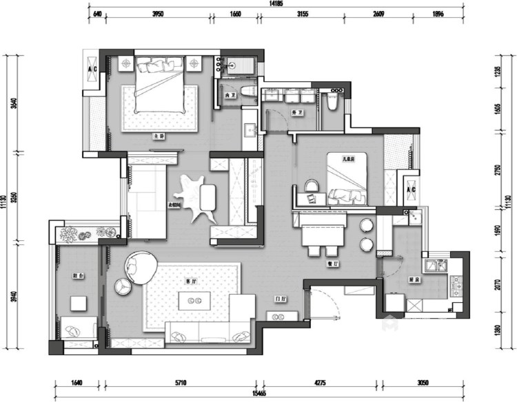 整洁现代风的家,每个人都适用-平面设计图及设计说明