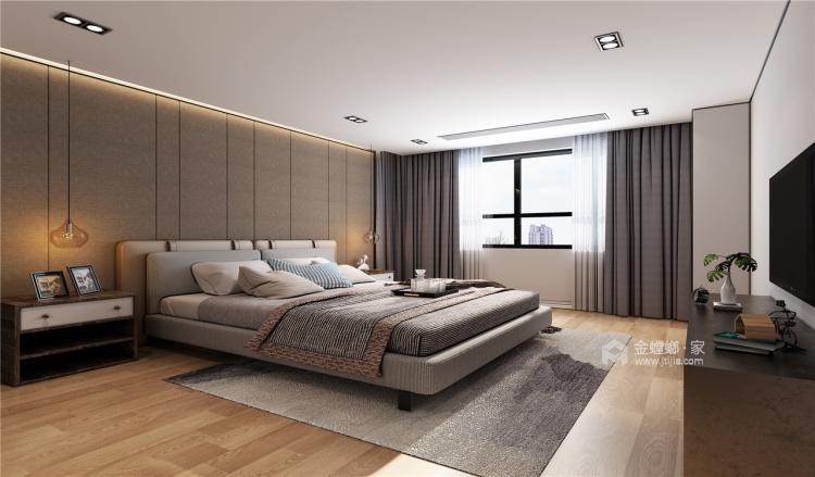 木.石.金属交相辉映出的现代简约风-卧室效果图及设计说明