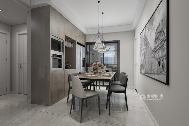 黑白灰搭配出的多彩家居生活-餐厅效果图及设计说明