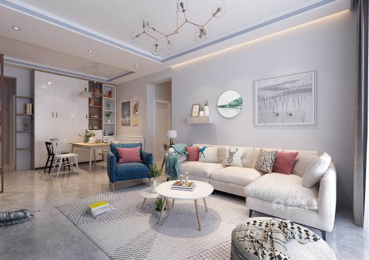 清新自然的北欧风,色彩相得益彰-客厅效果图及设计说明