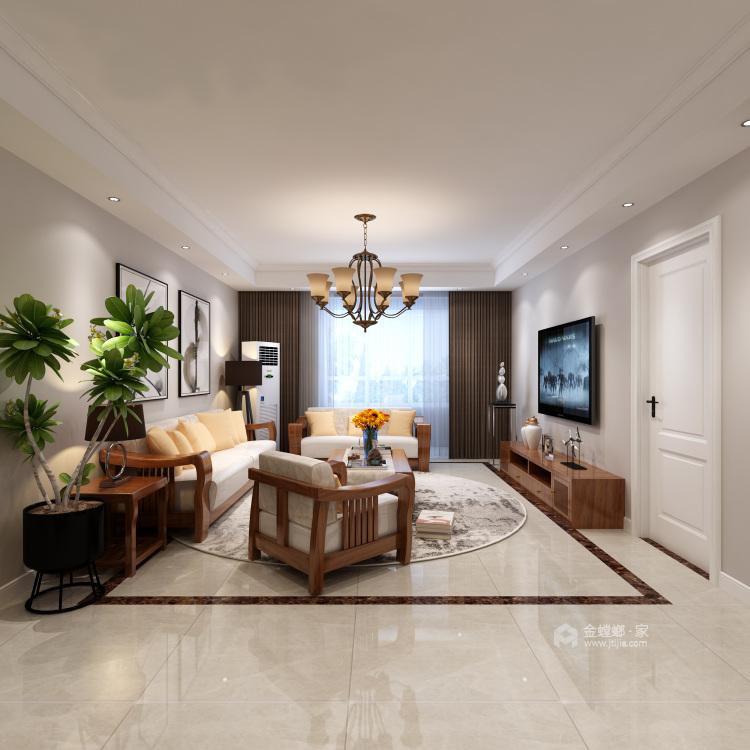 现代轻奢风,彰显主人典雅与时尚-客厅效果图及设计说明
