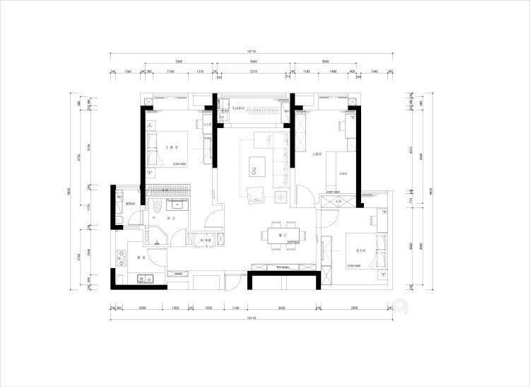 132平美宅,教你如何打造温馨的五口之家-平面设计图及设计说明