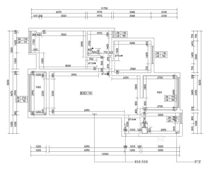 一房、两人、三餐、四季、一辈子的生活,94平北欧风-业主需求&原始结构图