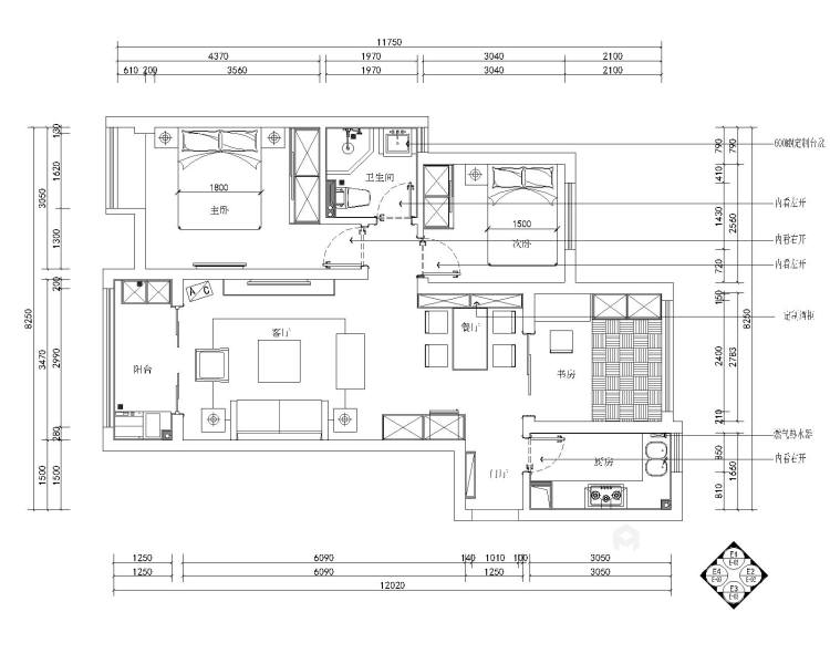 一房、两人、三餐、四季、一辈子的生活,94平北欧风-平面设计图及设计说明