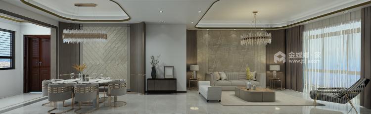 巧妙混搭的轻奢现代设计,每平方都透露出高雅范-客厅效果图及设计说明