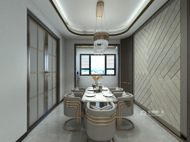 巧妙混搭的轻奢现代设计,每平方都透露出高雅范-餐厅效果图及设计说明