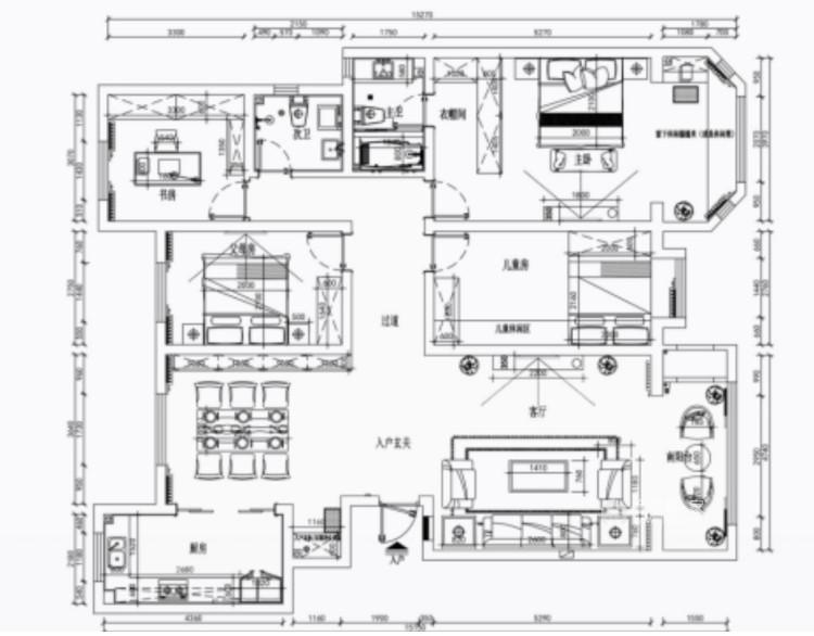 三代同堂现代风,温馨典雅的大平层-平面设计图及设计说明