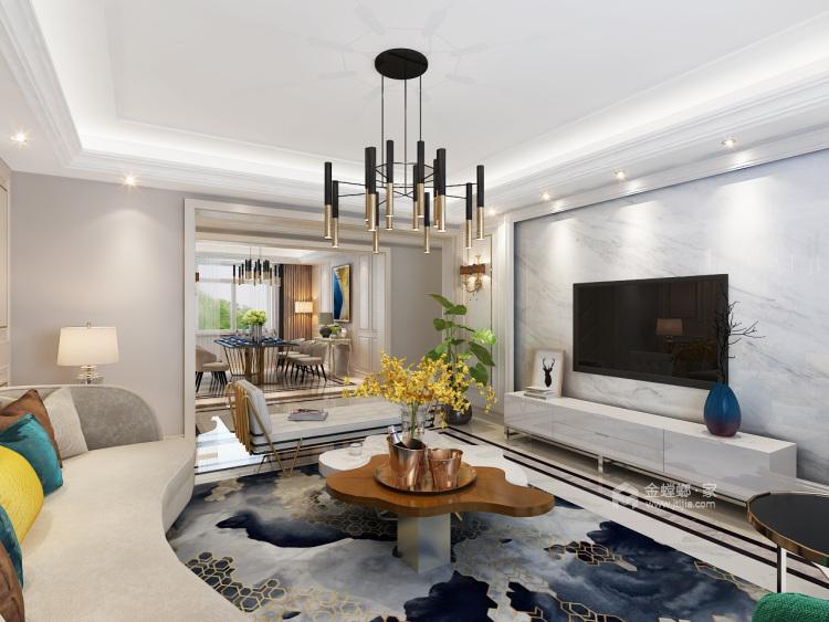 三代同堂现代风,温馨典雅的大平层-客厅效果图及设计说明