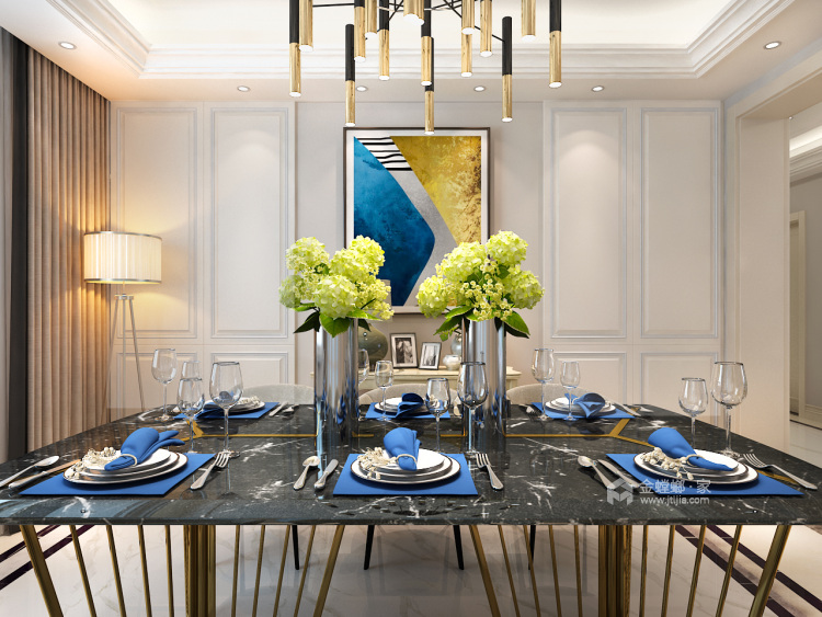 三代同堂现代风,温馨典雅的大平层-餐厅效果图及设计说明