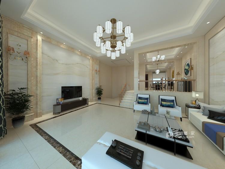600平大别墅,舒适典雅的现代风-客厅效果图及设计说明