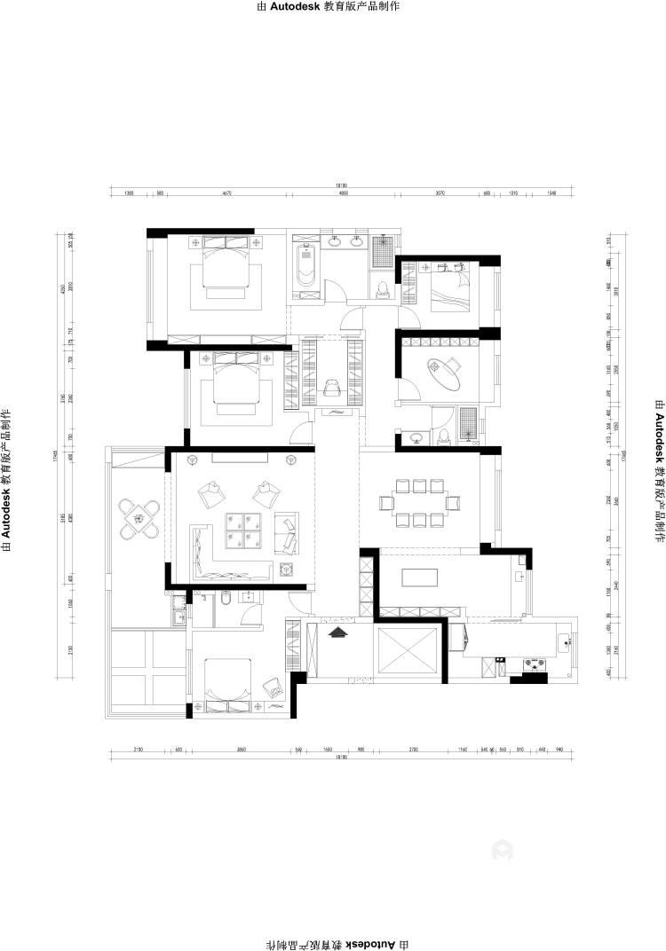 碧桂园260平大户型中式设计精美图-平面设计图及设计说明