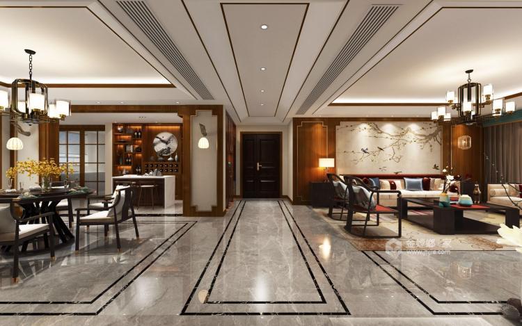 碧桂园260平大户型中式设计精美图-客厅效果图及设计说明