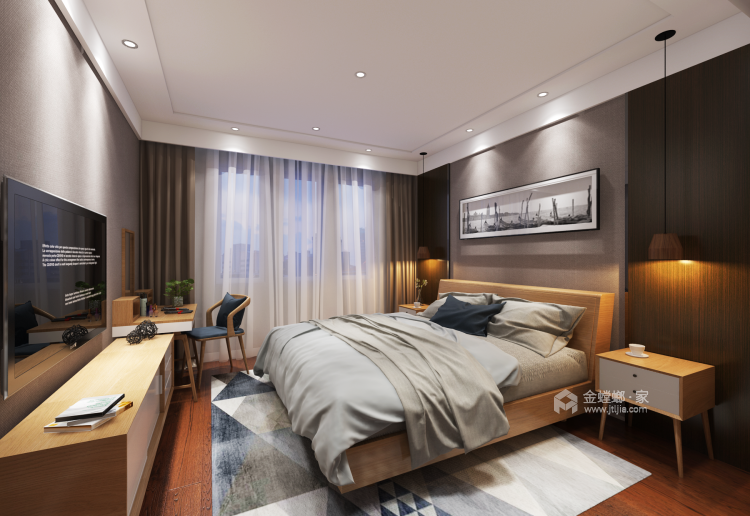 极简+色彩,直抵人心的美-卧室效果图及设计说明