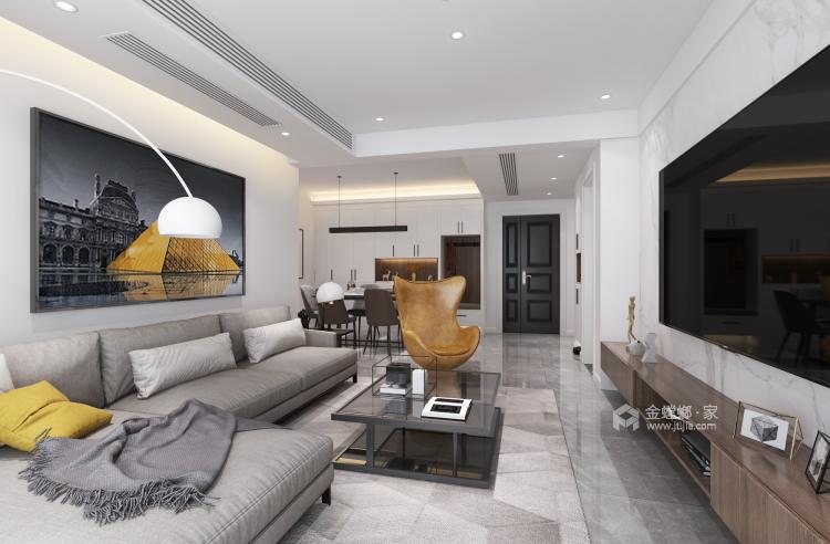 极简+色彩,直抵人心的美-客厅效果图及设计说明