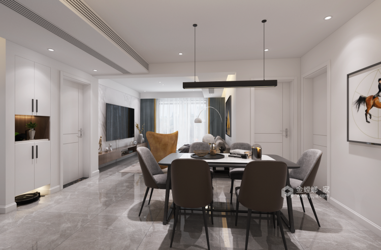 极简+色彩,直抵人心的美-餐厅效果图及设计说明