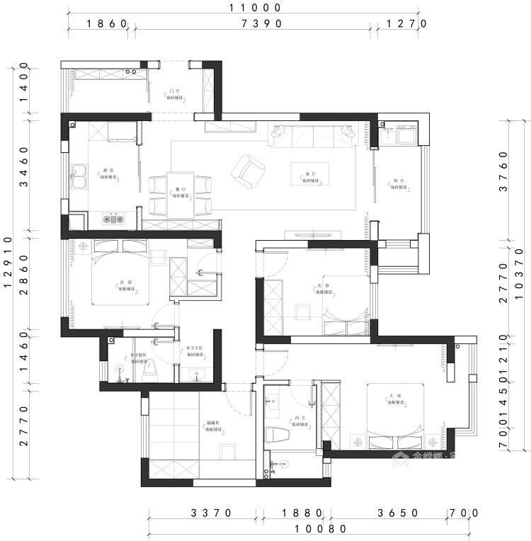 138平现代风格,不浪费角落空间-平面布置图