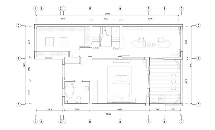 410平大别墅,论木质元素如何与现代风融合-平面布置图